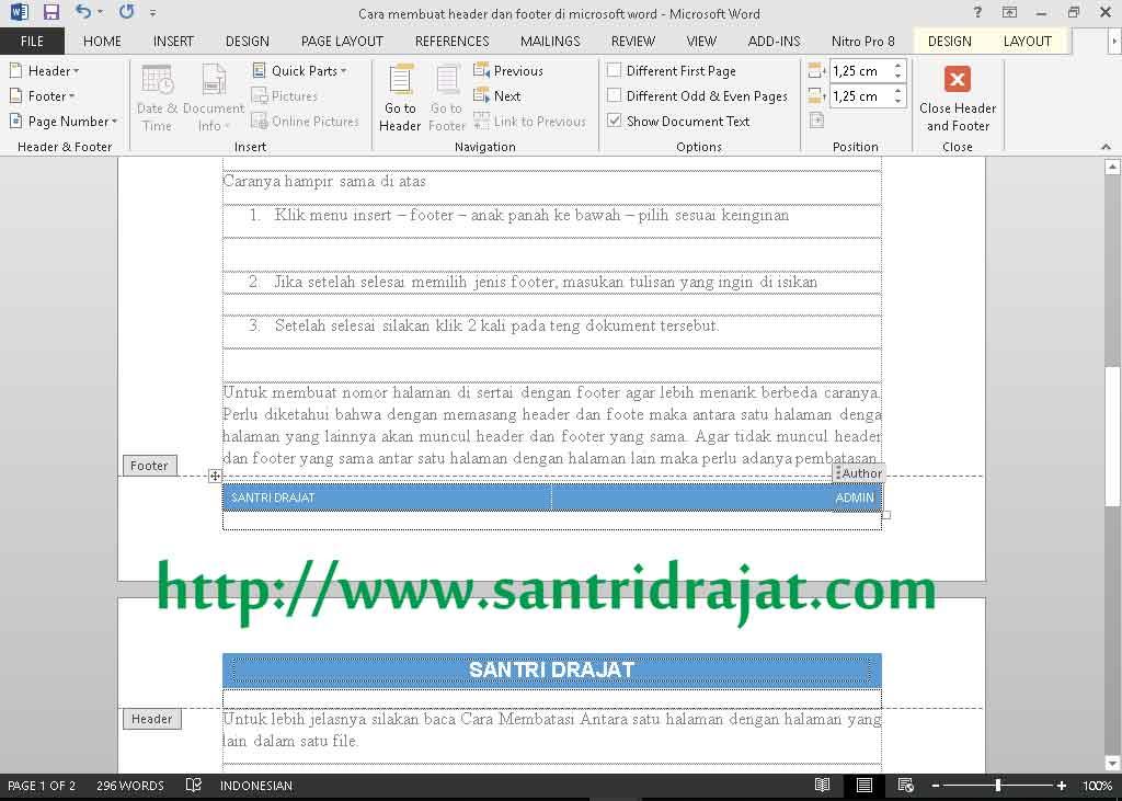 Cara Membuat Header dan Footer di Microsoft Word
