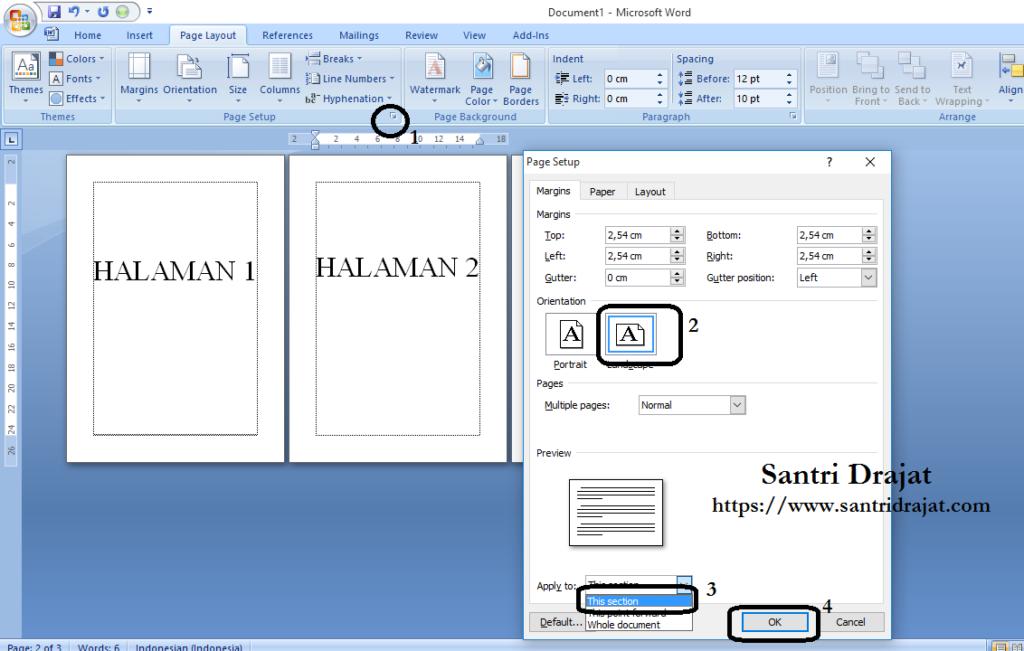 Menggabungkan Page Layout Potrait dan Landscape MS Word