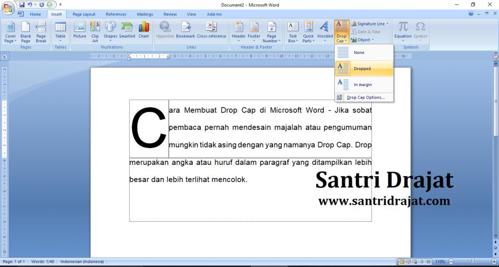 Cara Membuat Drop Cap di Microsoft Word